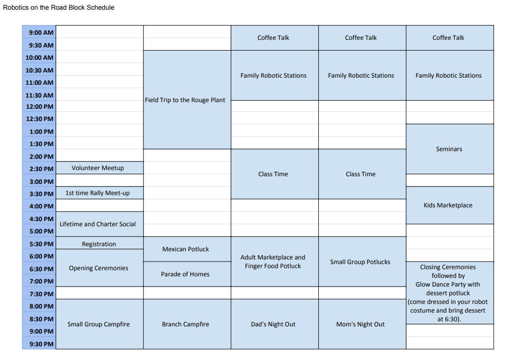 Robotics on the Road Rally - Fulltime Families Schedule