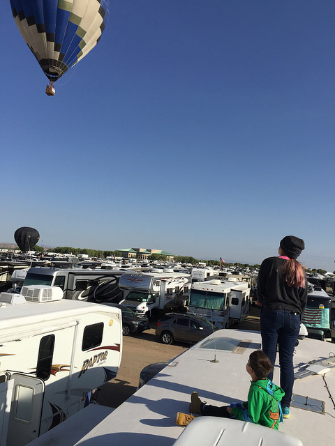 Watching balloons from RV roof