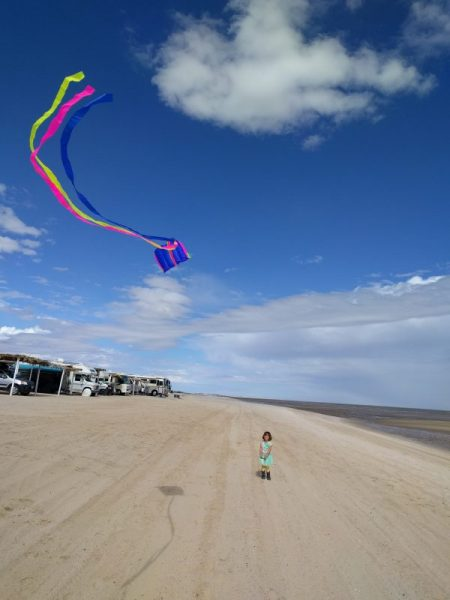 Flying a kite with boondocking rvs in background