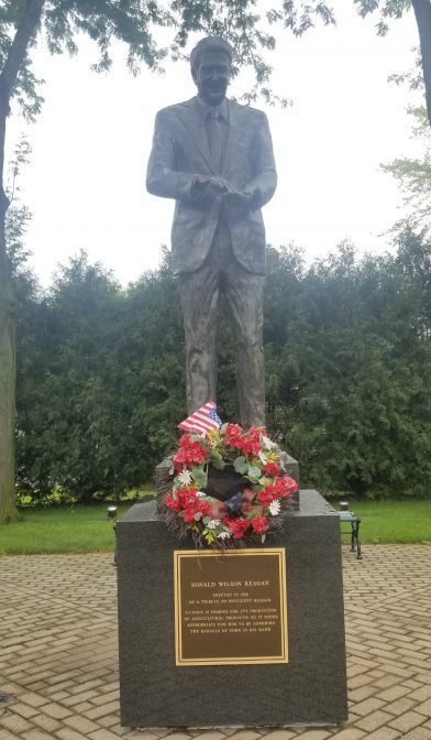 Statue of Ronald Reagan at boyhood home in Dixon, Illinois